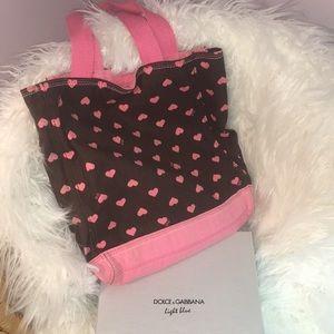 GAP Pink and dark brown heart tote bag